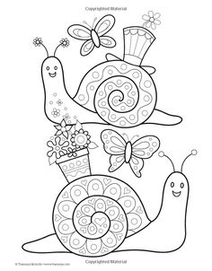 Cute snails colouring page