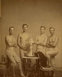 1876-Yale' s four-oared crew team with Centennial Regatta trophy won in Philadelphia
