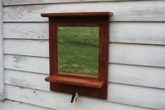 Your place to buy and sell all things handmade Mirror Organiser, Wood Pieces, Organization, Wood Colors, Barn Wood, Red Barn, Hall Mirrors, Mirror, Entry Hall