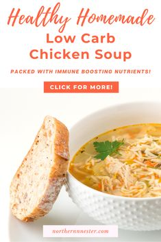 Our healthy homemade low carb chicken soup recipe is a delicious meal that can be enjoyed year round! With immune boosting nutrients, this flavorsome recipe is great for combating the common cold, and keeps you feeling your best! #lowcarbchickensoup #lowcarbsoup #lowcarbsouprecipe Low Carb Chicken Soup, Chicken Soup Recipes, Low Carb Soup Recipes, Dinner Recipes, Tasty, Yummy Food, Low Carb Breakfast, Lunch, Homemade