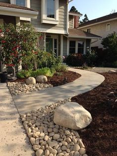 Front yard garden designs with pebbles front yard landscaping with rocks front yard ideas with rocks . front yard garden designs with pebbles Front Walkway Landscaping, Front Yard Walkway, Home Landscaping, Landscaping With Rocks, Front Porch, Walkway Ideas, No Grass Landscaping, Backyard Ideas, Backyard Walkway