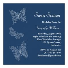Shop Butterfly Birthday Invitation (blue) created by prettyfancyinvites. Personalize it with photos & text or purchase as is! 18th Birthday Party, Sweet 16 Birthday, Birthday Party Invitations, Candy Themed Party, Butterfly Birthday, Blue Butterfly, Sweet 16 Parties, Pink Parties, Quinceanera Invitations