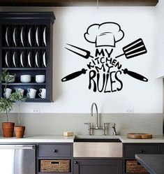 Vinyl Wall Decal Kitchen Quote Chef Restaurant Stickers Mural Unique Gift 45 in X 56 in / Black