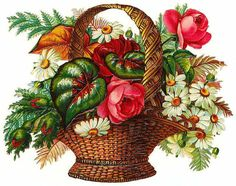 basket of roses, daisies, and greenery