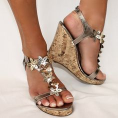 SUMMER LOVIN' Metallic Silver Bronze Pewter Floral Cut-Out T-Strap Ankle Wedge | eBay