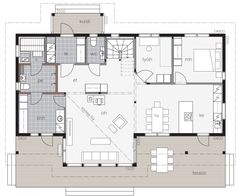 Kontio Iso-Kajastus is a welcoming home that combines impressive looks with a practical and functional floor plan. Southern House Plans, Southern Homes, Country House Plans, Country Style Homes, Porch Architecture, House Wrap Around Porch, Apartment Plants, Bonus Rooms, Home Technology