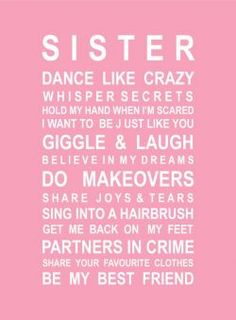CHILDREN :: Baby Gifts :: Bedroom Decoration :: Sister Poster - Gift ideas & present ideas for all occassions | My Favourite