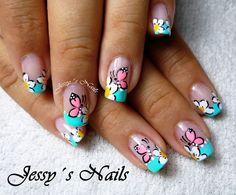 diseño de uñas CON MARIPOSAS - Buscar con Google Love Nails, My Nails, Nails 2015, Cute Nail Art, Pedicure, Acrylic Nails, Nail Designs, Make Up, Beauty