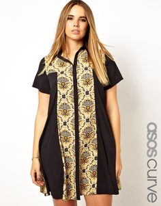 ASOS CURVE Exclusive Shirt Dress In Paisley