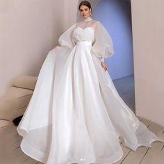 Muslim Wedding Dresses, Wedding Dress Organza, Wedding Dress Sleeves, Cheap Wedding Dress, Dream Wedding Dresses, Bridal Dresses, Wedding Gowns, Elegant Dresses, Fashion Clothes