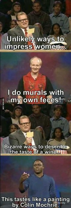 I love the carry-over jokes on Whose Line
