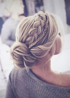 The most perfect braided updo twisted into an elegant low bun. This hairstyle is… The most perfect braided updo twisted into an elegant low bun. This hairstyle is…,Braids The most perfect braided updo twisted. Braided Hairstyles For Wedding, Pretty Hairstyles, Wedding Headpieces, Wedding Hair With Braid, Chic Hairstyles, Bridal Hair Updo Loose, Wedding Hair Blonde, Hairdos, Bridal Hair Braids