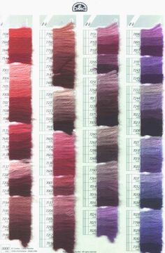 Charts for coverage of various needlepoint fibers on different canvas counts