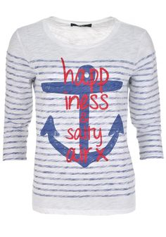 Oui - Nautical Print Cropped Sleeve T-Shirt White and Blue - www.mcelhinneys.com