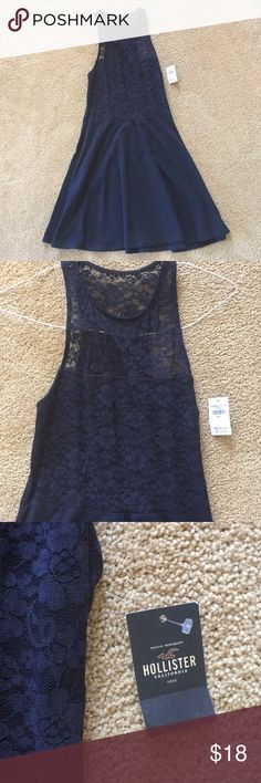 Hollister navy blue dress Navy blue Hollister dress. Flowers on the top. No holes or stains. Never worn with tags still (only because i forgot I had it and got put in the back of my closet and does not fit me anymore) Very cute and easy to dress up or down. Hollister Dresses