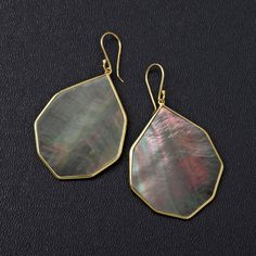 18K Gold Polished Rock Candy Large Pointed Teardrop Earrings