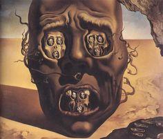 (Το πρόσωπο του πολέμου, Νταλί.) The Face of War, 1941 by Salvador Dali, Classic Period (1941-1989). Surrealism. allegorical painting