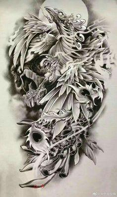 Japan Tattoo Design, Japanese Tattoo Designs, Japanese Tattoo Art, Japanese Sleeve Tattoos, Tattoo Design Drawings, Tattoo Sketches, Tattoo Designs Men, Phoenix Tattoo Sleeve, Phoenix Back Tattoo