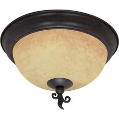 """Tapas 3 Light 15"""" Flush Mount with Tuscan Suede Glass"""