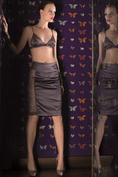 Villa Satine Triangle Bra & Lace Panel Skirt by French Luxury Lingerie Brand Maison Close
