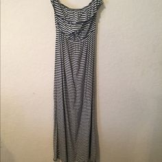 Striped navy and white strapless maxi dress large Navy and white striped nautical strapless maxi dress with ruffled top. From smoke free and pet free home, no trades please Trixxi Dresses Maxi