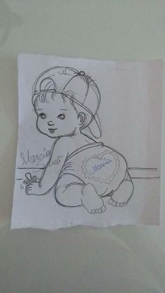 Redwork Embroidery Menininho de bumbum Pencil Art Drawings, Art Drawings Sketches, Cute Drawings, Baby Painting, Fabric Painting, Embroidery Patterns, Hand Embroidery, Mike Brant, Coloring Books