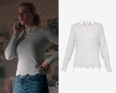 601e9a996c45 Betty Cooper (Lili Reinhart) wears this grey scalloped sweater with double  layer embellished collar