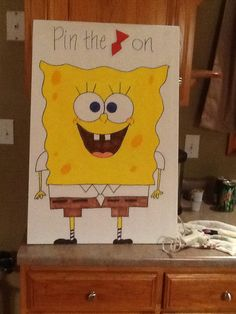 Pin the tie on Spongebob party game