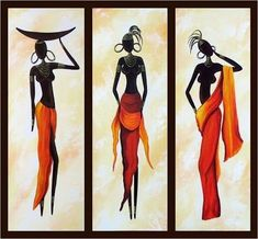 African Woman Painting, African Girl Art, Abstract Figure Art, Dining Room Abstract Painting - Silvia Home Craft 3 Piece Canvas Art, 3 Piece Painting, 3 Piece Wall Art, Hand Painting Art, Woman Painting, Painting Canvas, Painting Abstract, Large Canvas, Large Painting