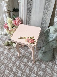 Shabby Chic Pink Stool, Chippy distressed vintage wooden stool, Shabby French Farmhouse stool,Pink stool, French Roses Catherine Klein by Fannypippin on Etsy https://www.etsy.com/listing/224829449/shabby-chic-pink-stool-chippy-distressed