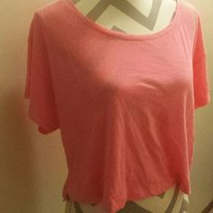 VS pink neon pink short sleeve Vs pink neon pink short sleeve! Cute basic tee. Size small. EUC PINK Victoria's Secret Tops Tees - Short Sleeve