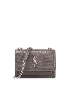 V36JN Saint Laurent Sunset Monogram Small Crocodile-Embossed Crossbody Bag