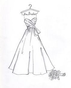 Custom Wedding Dress Sketch by DrawtheDress on Etsy, $50.00. Wedding shower present