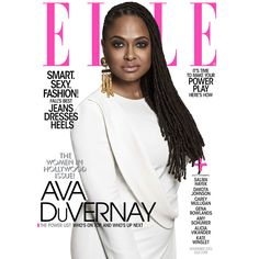 """Shot by Paola Kudacki, filmmaker Ava DuVernay shines on an all white cover for the latest issue of Elle Magazine. As part of the publication's """"Women in Hollywood"""" feature, DuVernay joins Mia Farro..."""