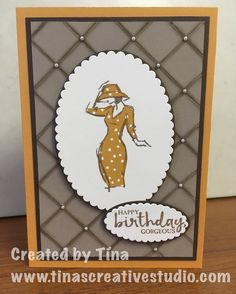 My first card using the Beautiful You stamp set from Stampin Up for a class. Scored background technique and paper piecing used to highlight the classy lady stamped image. #handmadecards #stampinup #stamping #cardmaking #cardmakingclass #tinascreativestudio