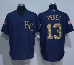 0c3777012be Royals  13 Salvador Perez Denim Blue Salute to Service Stitched MLB Jersey  Kansas City Royals