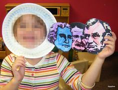 Presidents Day activities: President's Day Mt. Rushmore Mask. Too cute.  Could follow this up with a writing extension of why I would make a great President.