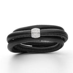 STORY armbånd i sort lammeskind med sølv led - Kranz & Ziegler