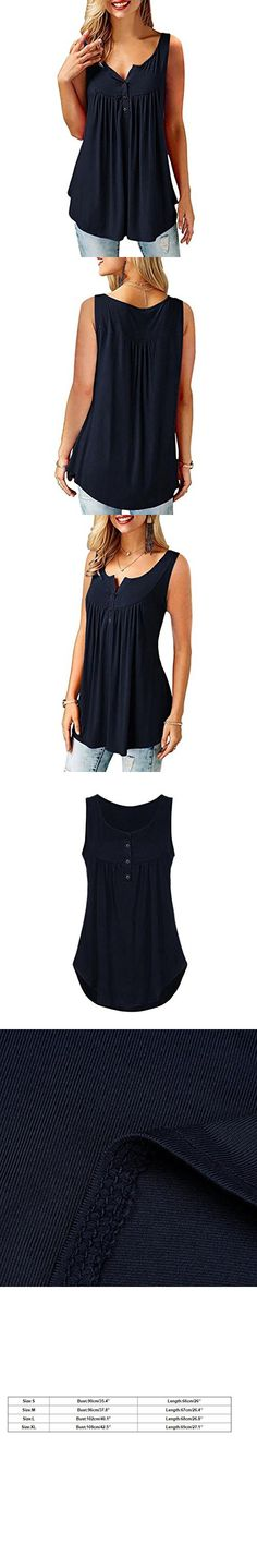 CUCUHAM Womens Summer Sleeveless Solid Color Casual Swing Flowy Tank Tops with Buttons 40th Birthday, New Look, Buttons, Clothes For Women, Tank Tops, Casual, Summer, How To Wear, Stuff To Buy