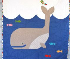 W is for Whale Toddler Bed Quilt, Alphabet Quilt, Nautical Quilt, Applique, Whale Pattern, Animal Alphabet, Crafty Kids, Knitting For Kids, Quilt Bedding
