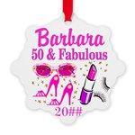 50TH FABULOUS Snowflake Ornament http://www.cafepress.com/jlporiginals/10203791 #50thbirthday #50yearsold #Happy50thbirthday #50thbirthdaygift #50thornament  #Personalized50th  #50thbirthdayideas