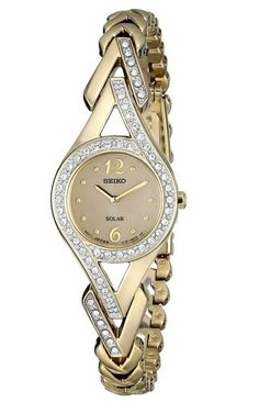Seiko Women Watch Swarovski Crystal Accented Stainless Steel Gold Tone Solar #Seiko #LuxuryDressStyles