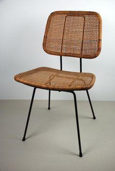 Dirk van Sliedregt; Enameled Metal and Cane Chair for Goed Wonen, 1950s.