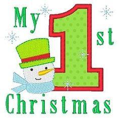 1st Christmas Snowman Applique - 4x4   Christmas   Machine Embroidery Designs   SWAKembroidery.com Stitch-Ville