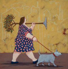 Il cane della via Gluck - Quadreria Blarasin Quirky Art, Whimsical Art, Plus Size Art, Arte Online, Fat Art, Blue Horse, Woman Illustration, Italian Art, Funny Art