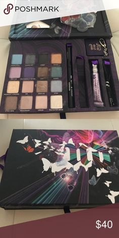 Urban decay eyeshadow kit New in box limited edition eyeshadow kit...one color swatches but missing the mascara but has never been used eyeshadow primer and liquid 24/7 eyeliner in perversion. Comes with mini speaker. Has amazing colors. Urban Decay Makeup Eyeshadow