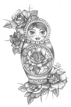 Image result for tattoo russian doll - love the flowers around this one.