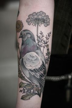 kirstenmakestattoos:  Pigeon, carrot flowers, and dandelions for Shawna. Thank you, lady! I love pigeons!