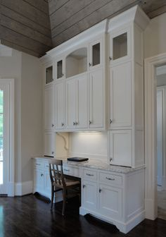 A built-in desk space in the kitchen is a great idea for those who don't want to renovate an entire room into an office. Office Nook, Home Office Space, Home Office Design, Home Office Decor, Office Furniture, Home Decor, Desk Space, Kitchen Desk Areas, Kitchen Desks