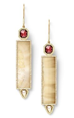 Monique Pean - Fossilized Walrus Ivory Earrings with Natural Garnet and White Sapphire